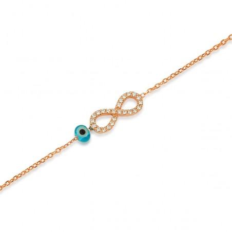 Bracelet infini argent 925 plaqué or zirconium et perle bleue.