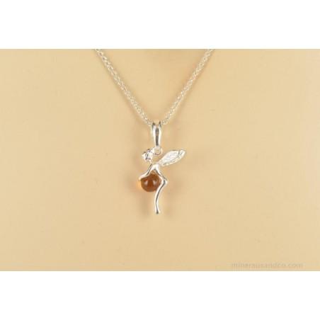 Collier et pendentif fée et perle d'ambre
