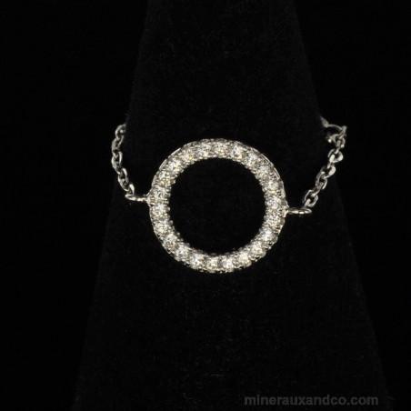 Bague chaîne cercle argent 925 zirconiums