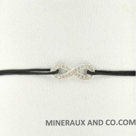 Bracelet cordon infini zircon blanc