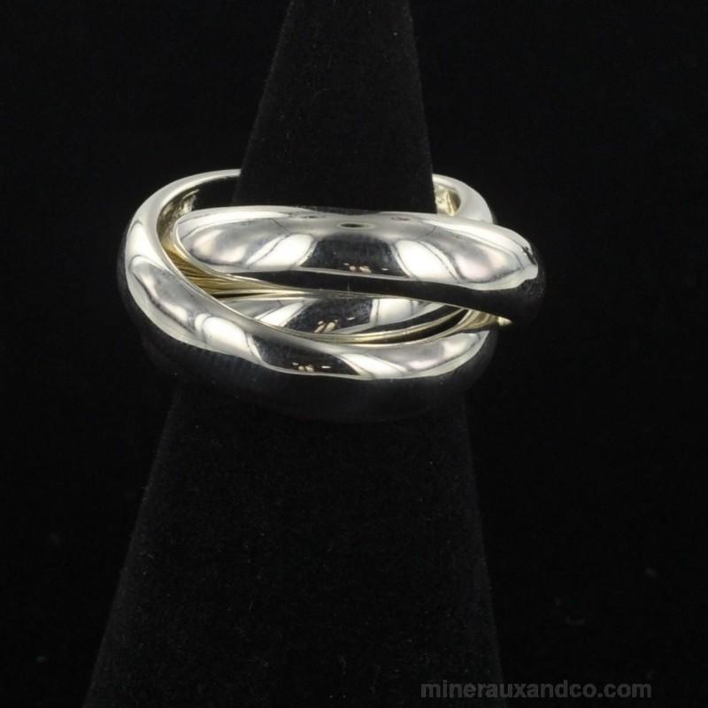 Bague trois anneaux entremêlés argent 925.