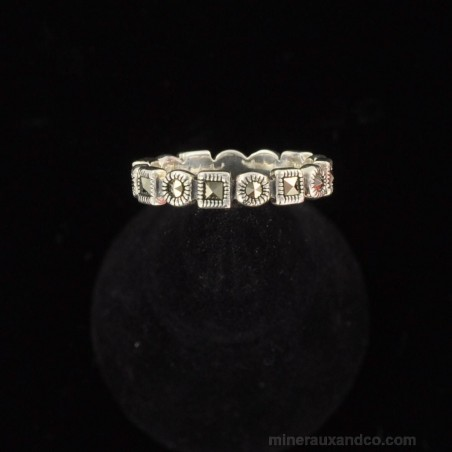 Bague anneau marcassite et argent 925