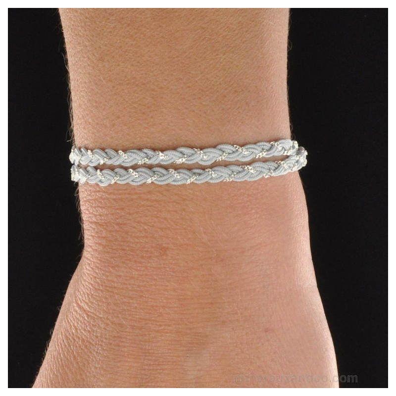 Bracelet chaîne argent et cordon tressés.