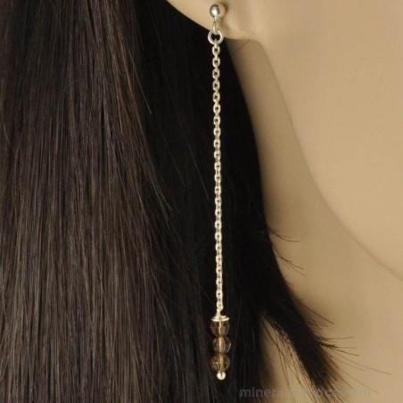Boucles d'oreilles chaînes pendantes et quartz fumé.