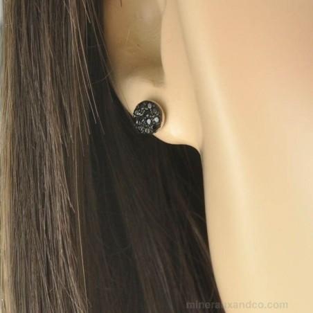 Puces d'oreilles argent et zirconium noir.