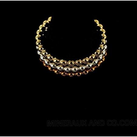 Bague anneau perlé plaqué or et argent