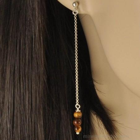 Boucles d'oreilles chaînettes argent perles d'œil de tigre.
