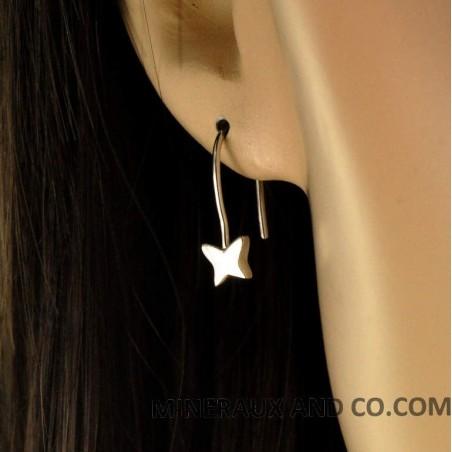 Boucles d'oreilles argent papillon