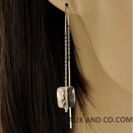 Boucles d'oreilles chaînes longues et quartz