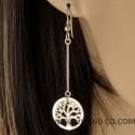 Boucles d'oreilles chaînes pendantes et arbre de vie.