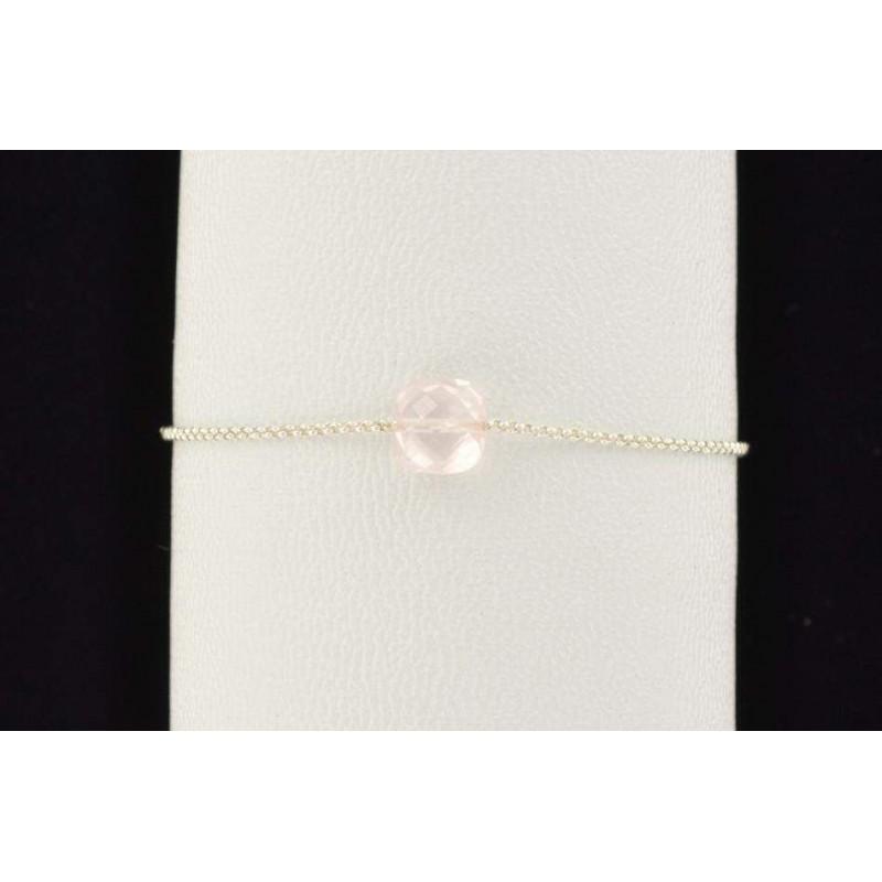 Bracelet chaine argent et pierre quartz rose facettée
