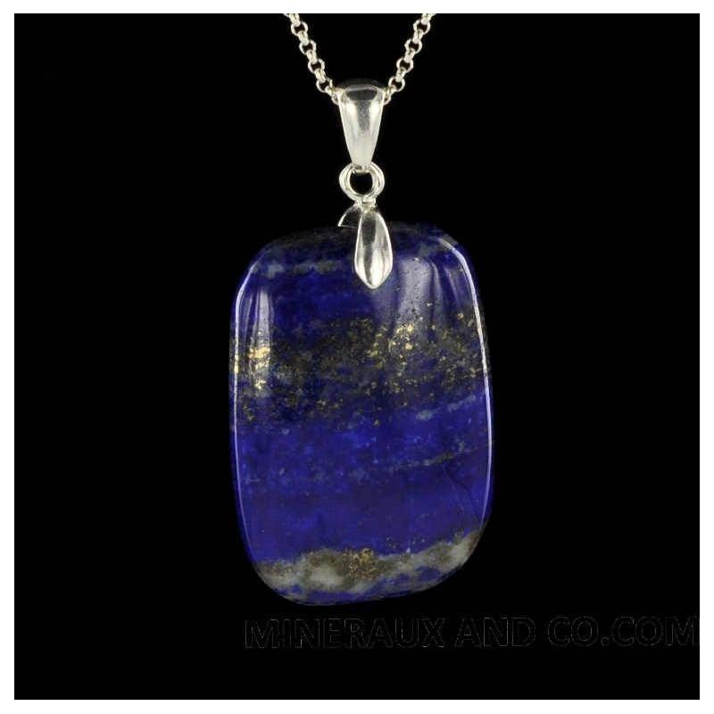 Pendentif lapis-lazuli rectangle attache et chaîne argent 925.