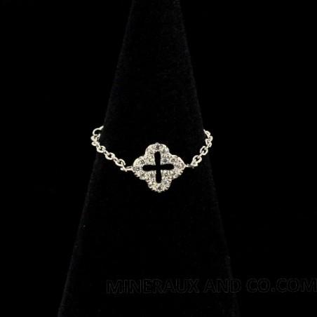Bague chaîne croix argent et zirconiums.