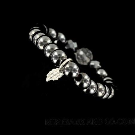 Bracelet perles hématite plume d'argent 925