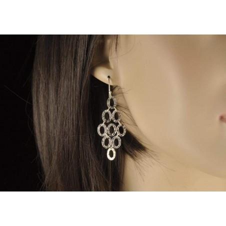 Boucles d'oreilles percées rondes argent 925.