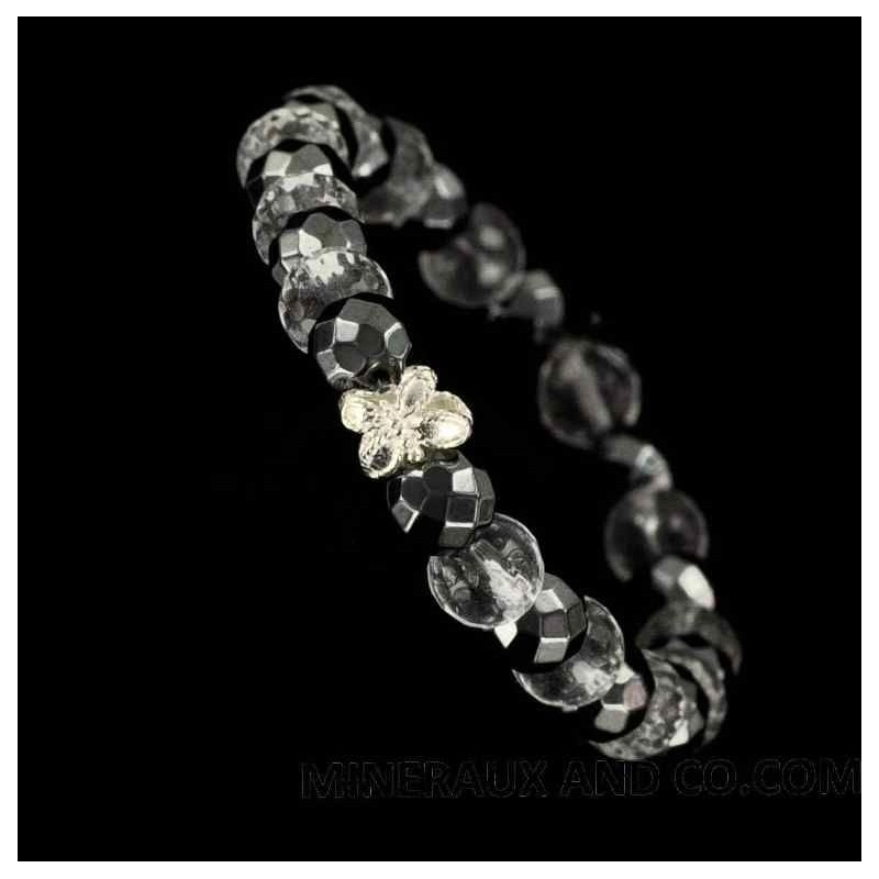 Bracelet perles hématite, cristal de roche, papillon d'argent 925. d'argent 925.