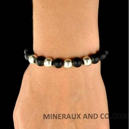Bracelet perles d'agates noires et perles d'argent 925.