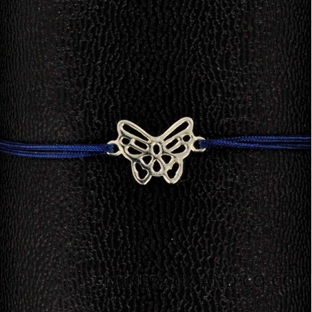 Bracelet papillon ajouré argent 925 sur cordon