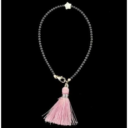 Bracelet perles d'hématite et étoile de nacre avec pompon.