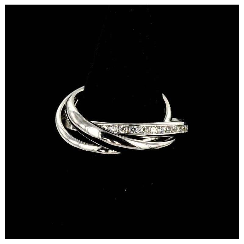 Bague trois anneaux argent 925 et zirconium