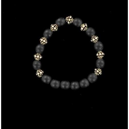 Bracelet agate noire et perles d'argent Indienne