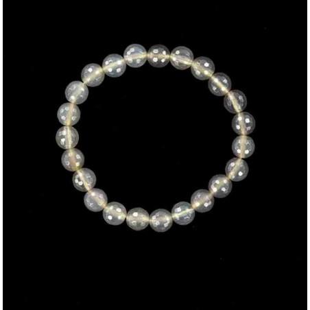 Bracelet perles de calcédoine grises facettées.