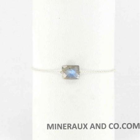 Bracelet chaine argent 925 et rectangle facetté en labradorite
