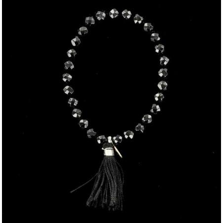 Bracelet perles d'onyx noir facettées et pompon.