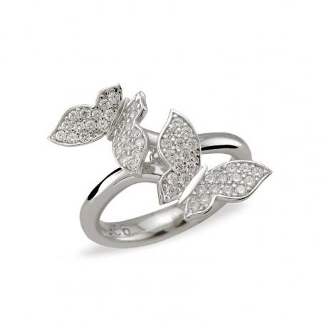Bague anneau deux papillons argent 925 et zirconiums.