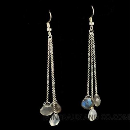 Boucles d'oreilles chaînettes argent 925 et larmes de pierre de lune.