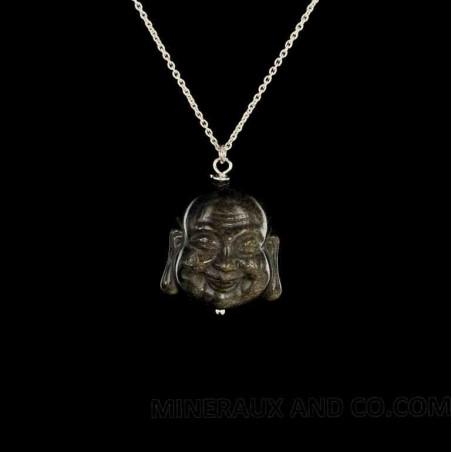 Pendentif bouddha chinois obsidienne doré