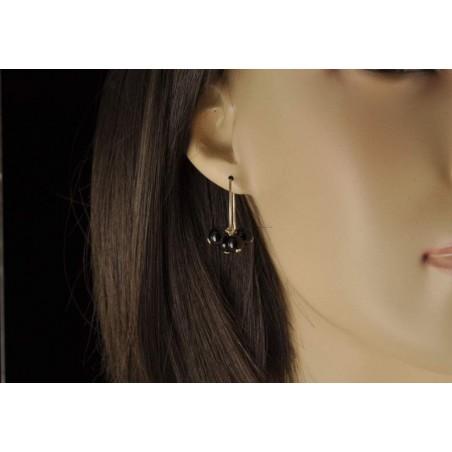 Boucles d'oreilles boules onyx et argent 925.