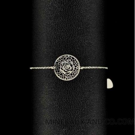 Bracelet argent et rose ajourée