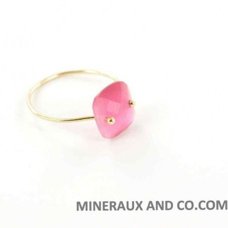 Bague anneau plaqué et zirconium rubis.