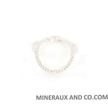 Bague cercle argent rhodié 925 et zirconiums sertis