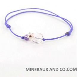 Bracelet quartz rose et fleur de nacre cordon.