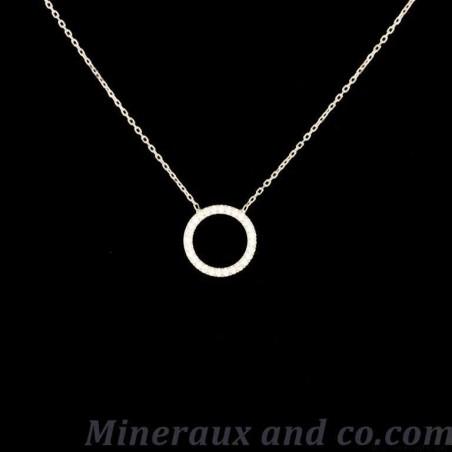 Collier cercle argent de zirconium