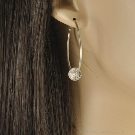 Boucles d'oreilles créoles argent 925 et cristal de roche.
