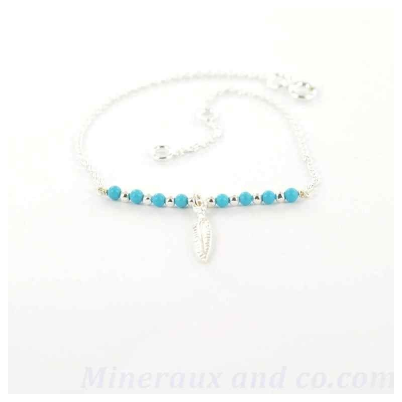 Bracelet plume et turquoise.