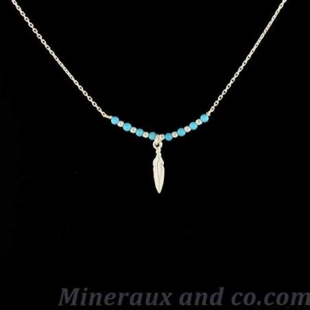Pendentif plume argent perles turquoise