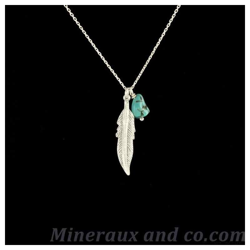 Chaîne et pendentif plume argent et turquoise