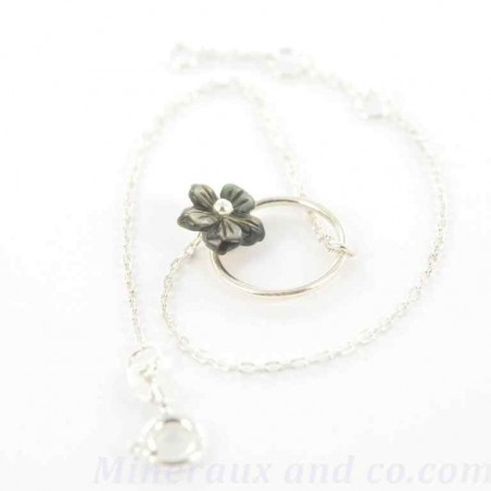 Bracelet chaine et cercle argent et fleur.