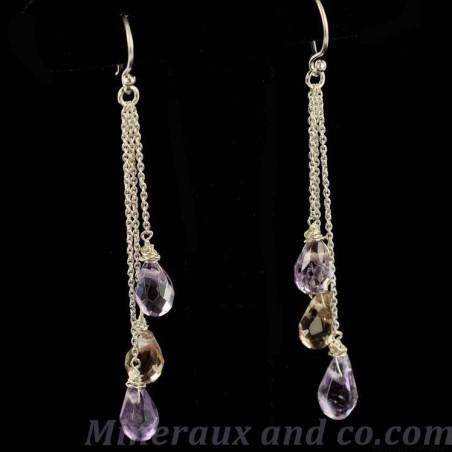 Boucles d'oreilles perles d'amétrine facettée.