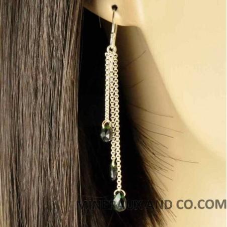 Boucles d'oreilles argent 925 et tourmaline verte