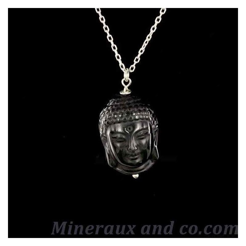 Pendentif bouddha Cambodgien obsidienne céleste et attache argent.