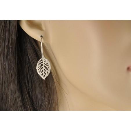 Boucles d'oreilles argent 925 feuille