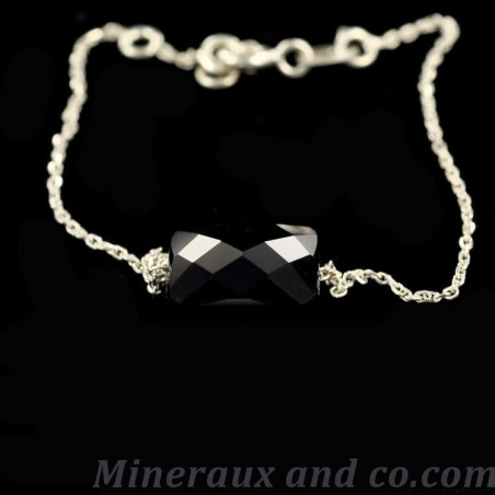 Bracelet argent et onyx.