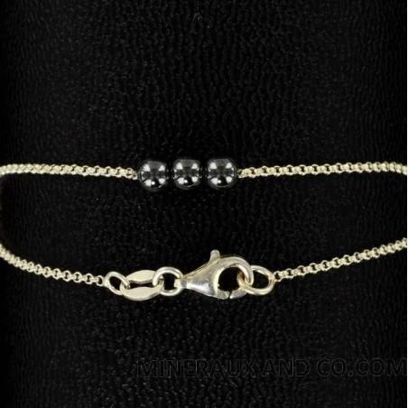 Bracelet trois perles hématite et argent 925