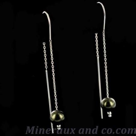 Boucles d'oreilles perles noires et argent.