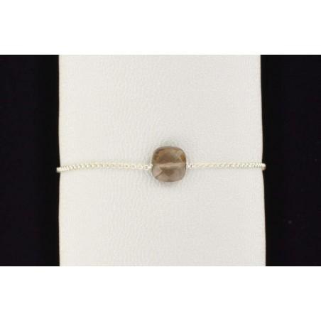 Bracelet chaîne argent  quartz fumé facetté.